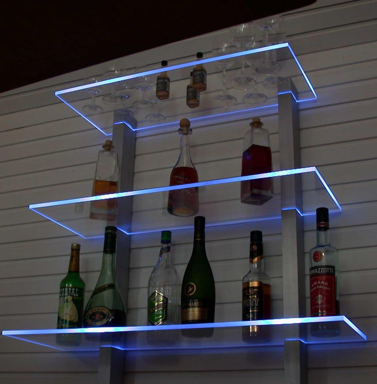 Design Bar Regal LED ideal Flaschen und Gläser RGB Version ...