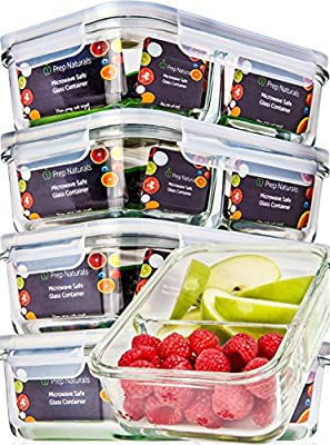 Prep Naturals Glass Containers 2 Compartment