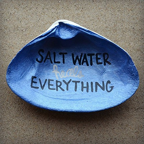 Salt-Water-Heals-Everything-Clam-Shell-Dish-Spoon-Rest-Soap-Dish-Jewelry-Holder-Catch-all-Cranberry-Collective