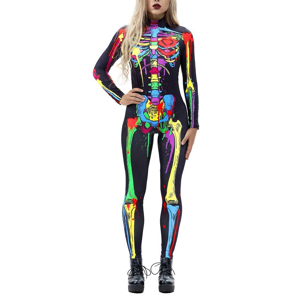 42bc7d8f9729 Amazon.com  TIMEMEANS Womens Jumpsuit Sexy Bone Print Long Sleeve Slim  Halloween Costumes  Clothing