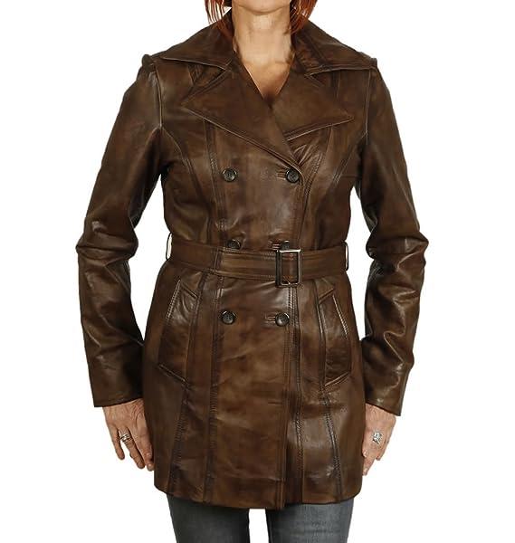 Simons Leather - Abrigo - para mujer Marrón marrón 44: Amazon.es: Ropa y accesorios