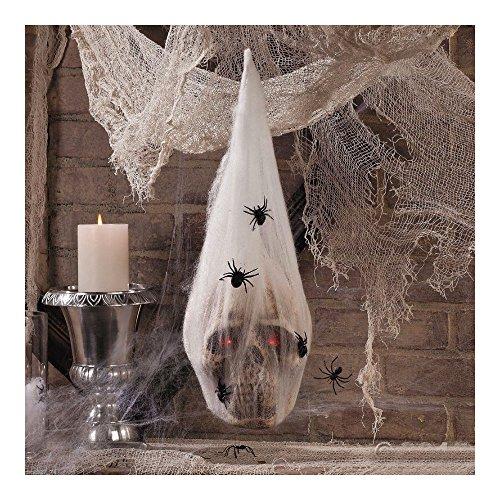 HALLOWEEN Haunted House Decoration Prop SKULL in SPIDER COCOON Light Up (Halloween Alien Cocoon)