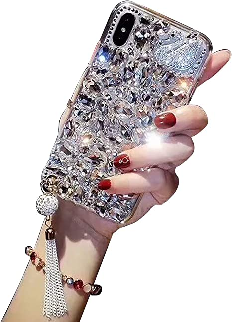 Aearl TPU Soft Luxury 3D Handmade Stunning Stones Crystal Rhinestone Bling Full Diamond Glitter Shinning Cover with Screen Protector for iPhone 8 Plus//7 Plus For iPhone 7 Plus//8 Plus Cute Sparkle Jewels Case Clear