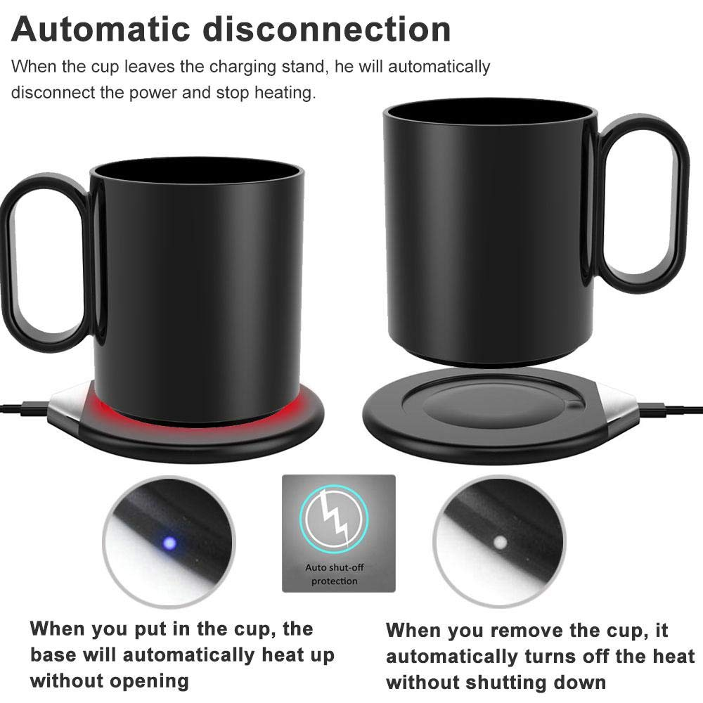 OOOUSE Mug Warmer with Lid,Coffee Mug Warmer with Automatic Shut Off and Support Wireless Charging for Mobile Phone,Beverage Warmer for Home Office Tea Coffee Milk by OOOUSE (Image #6)