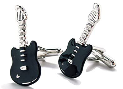 Hombres Ejecutivo de la plata tono negro esmalte Gemelos de guitarra ...