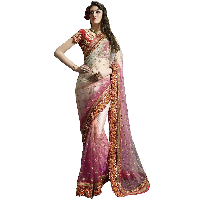 Shree Designer Sarees Women's Perfervid Pink Net Designer Saree