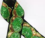 7yards Beads Sequin Gold Green African Cord Applique Lace Fabric Trim Patches Embroidred Motif Venise Fashion DIY Design