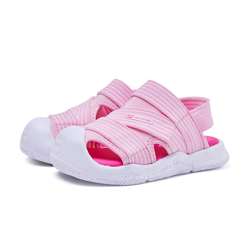 BMCITYBM Boy's Girl's Outdoor Beach Athletic Close-Toe Strap Water Sandals Pink (Toddler/Little Kid)