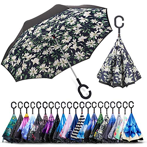 (ZOMAKE Double Layer Inverted Umbrellas for Women, Reverse Folding Umbrella Windproof UV Protection Big Straight Umbrella for Car Rain Outdoor With C-Shaped Handle)