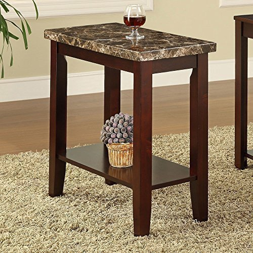 Rectagular Faux Marble Tabletop Chairside Sofa End Snack Accent Table,  Cherry Finish