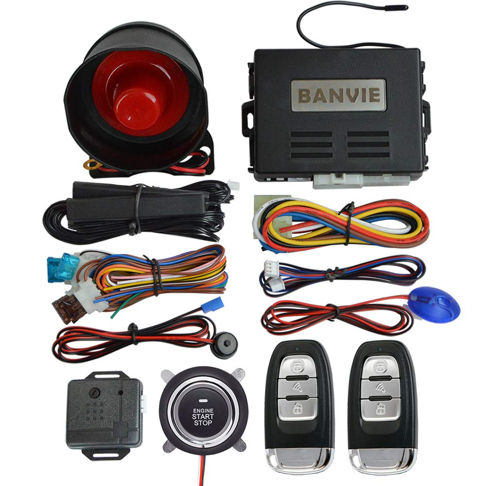 BANVIE PKE Car Alarm System with Remote Start and Push Engine Start Button by BANVIE