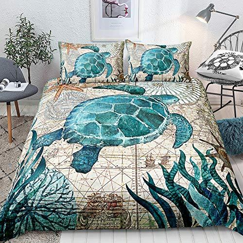 Turtle Bedding Teal Turtle Duvet Cover Set Aqua Turquoise Ocean Themed Mediterranean Style Design Marine Tortoise Quilt Cover Queen 1 Duvet Cover 2 Pillowcases (Queen, Turtle) (Duvet Covers Queen Nautical)