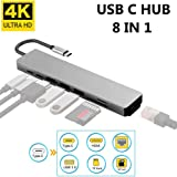 Proxima Direct USB C Hub, 8 in 1 USB-C hub to HDMI Multi Adapter with 4K HDMI, USB 3.0 Ports, Ethernet Port, SD/TF Card Readers and PD Charging Port for MacBook/Pro/Air, Type-C Laptops and More, Grey