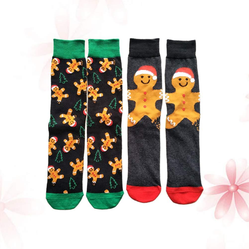 BESTOYARD 2 Paia di Calzini Casual di Natale colorato Divertente Fantasia in Cotone Calze dellequipaggio per Le Feste Natalizie Regali di Natale per Ragazzi Gratis