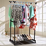 Pesters Stainless Steel Double Rail Rolling Garment Rack with Bottom Shelf and Lockable Wheels, Adjustable Metal Hanging Clothes Rack (US STOCK) (Black)