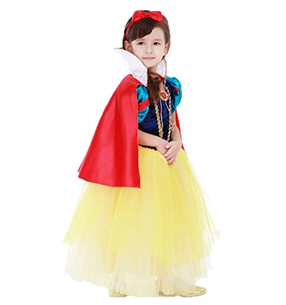 b637e77f1c Girls' Princess Costume Snow White Fancy Dress With Cloak Red & Yellow  150cm/ fit
