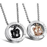 Jewow Jewellery 2 collane con ciondolo a corona e incisione con giuramento d'amore, regalo prefetto per coppie