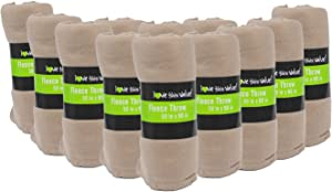 """24 Pack Wholesale Soft Cozy Fleece Blankets - 50"""" x 60"""" Comfy Throw Blankets (Tan)"""