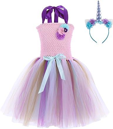 Unicorn Flower Girl Rainbow Tutu Dress Kid Birthday Party Cosplay Fancy Costume