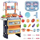 Decdeal Kitchen Set Pretend Play with Sound & Light Kitchen Toy Stove Pan Spoon Vegetable Fruit Accessories with Water…