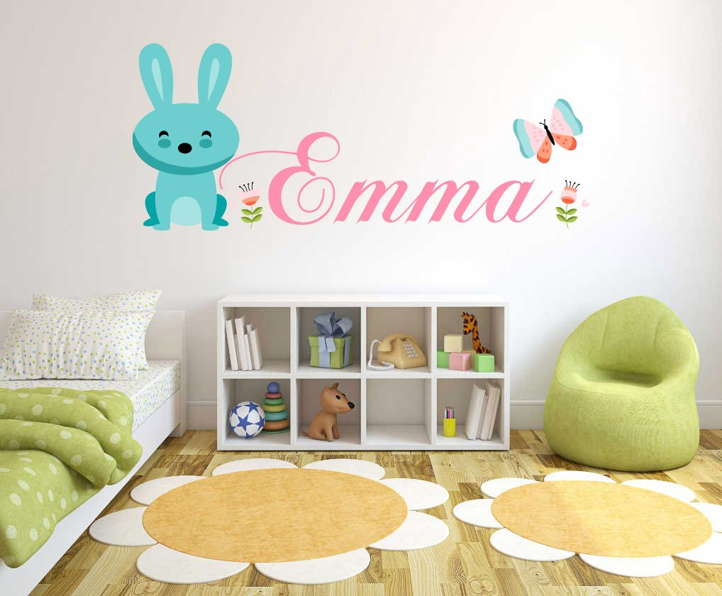 Girls Custom Bunny and flowers Name decal - Personalized Girls name - Wall Decal For Home Nursery Decoration (Wide 20''x8'' Height)