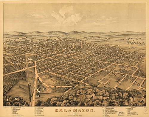(c. 1874 24x32 Poster Map : Vintage Antique Old Reproduced Bird's-Eye-View. LC Panoramic map of: Kalamazoo, Michigan 1874.)