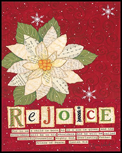 Christmas Wall Art - Rejoice Poinsettia Mounted Print
