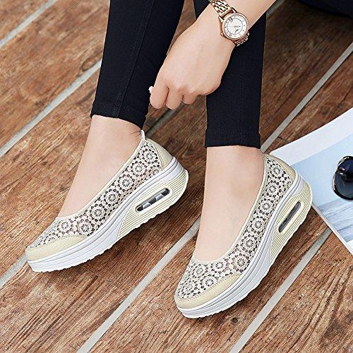 Sneakers Work Walking Ups Fitness Out Floral Platform Shape Slip Beige Shoes On Women Crochet EnllerviiD 1710 OgzPvv