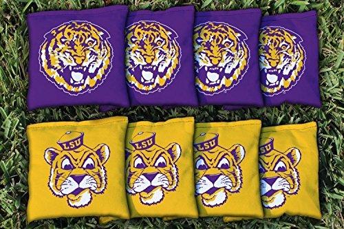 (8 College Vault Louisiana State LSU Tigers Regulation Corn Filled Cornhole Bags)