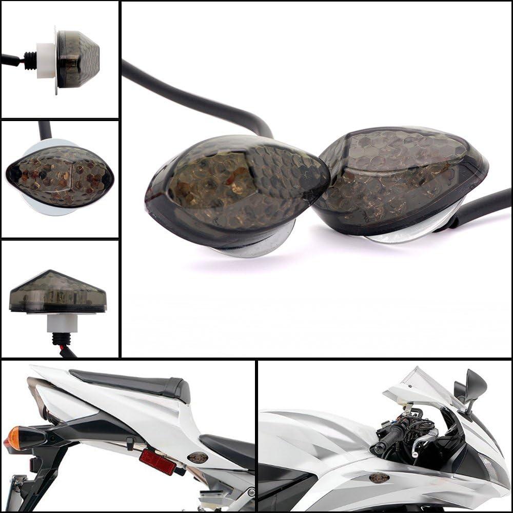 Amber LED Light Smoke Lens Flush Mount Motorcycle Turn Signals Compatible with Suzuki DL650 V-Strom 650 RGV250 RGV500 Boulevard C109R Intruder C1800R RV 125 Van Van DR650 SE