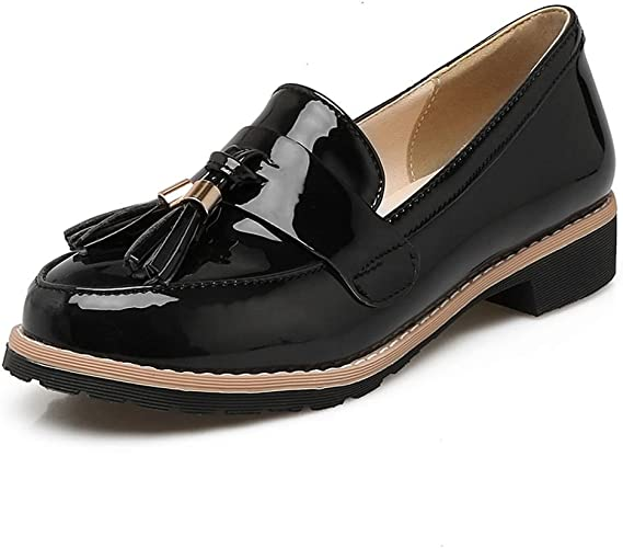 LADIES WOMENS DESIGNER LOAFER BLACK PATENT BUCKLE SLIP ON LOW HEEL FLAT SHOES SI