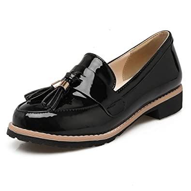 9bbcade9a166dd DecoStain Women s Patent Leather Tassel Loafers Flat Work School Low Heel  Shoes Black