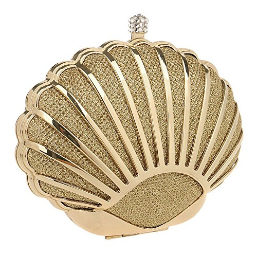 Argento Shell donna Kyokim Day Metallo Oro Clutch Design Tie Diamanti da 5RzwWqCxY