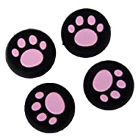 FITYLE 4x Pink Cat Paw Silicone Joystick Thumbstick Grips Caps For PS4/Xbox One/360