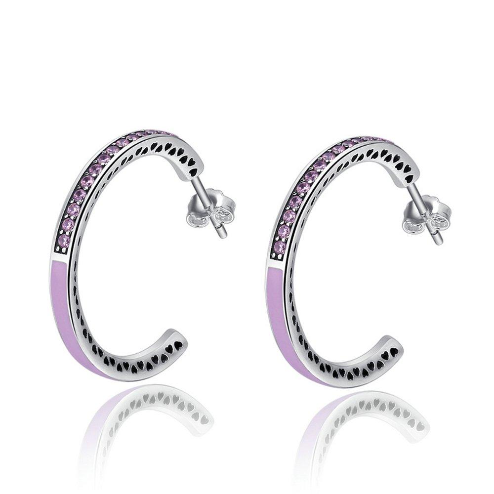 The Kiss Pink CZ Love 925 Sterling Silver Hoop Earrings KISSESCE053
