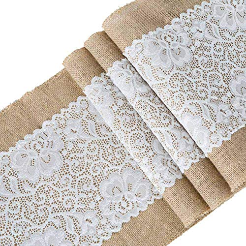 Toaroa Burlap Hessian White Lace Table Runner Natural Jute for Rustic Vintage Country Wedding Party Bridal Shower Baby Shower Kitchen Dining Table Decoration Farmhouse Woodland Decor, 12x72 inches -