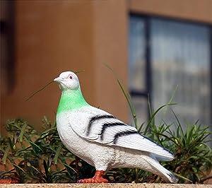 Resin Dove Animal Sculpture Outdoor Patio Garden Decorations, Pigeon Garden Statue Garden Ornaments (Gray)