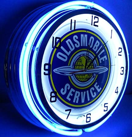 Oldsmobile Service 18 Double Light Neon Clock Sign Blue Wall