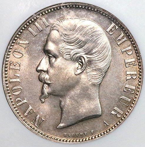 - 1856 FR France Napoleon III Paris Mint Silver Coin (16102711C) 5 Francs About Uncirculated NGC AU 58