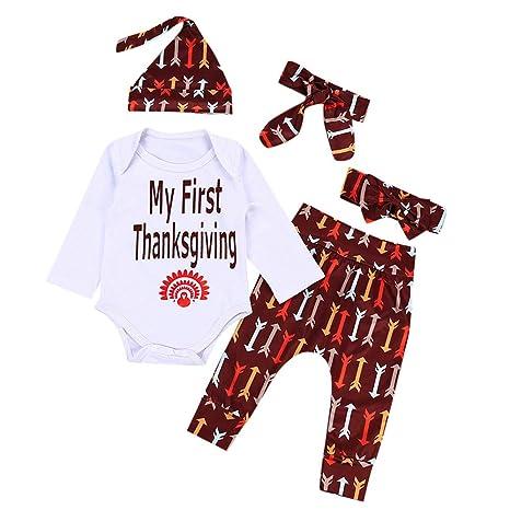 Thanksgiving Newborn Kids Baby Girl Outfits Clothes Print T-shirt Tops+Pants Set