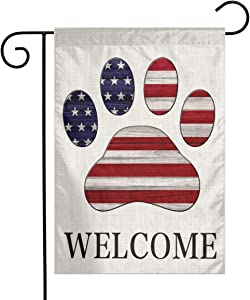 YANGHOME Wooden American USA Dog Paw Print Burlap Garden Porch Lawn Flag Farmhouse Decorations Mailbox Decor Welcome Sign 12x18 Inch Small Mini Size Double Sided Flax Nylon Linen Fabric