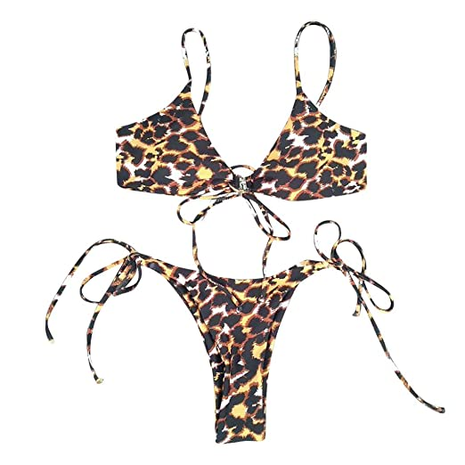 dd66c8b9f07 Amazon.com: FTXJ Women Leopard Print Bandage Bikini Set Brazilian Swimwear  Beachwear Swimsuit: Clothing