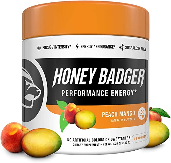 Honey Badger Vegan Keto Pre Workout Peach Mango Natural Paleo Sugar Free Plant-Based Energy Supplement Nootropics Amino Acids Nitric Oxide Sucralose Free Non-Habit Forming 30 Servings