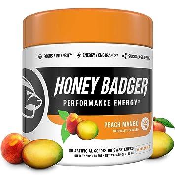 Honey Badger Vegan Keto Pre Workout | Peach Mango | Natural Paleo Sugar  Free Plant-Based