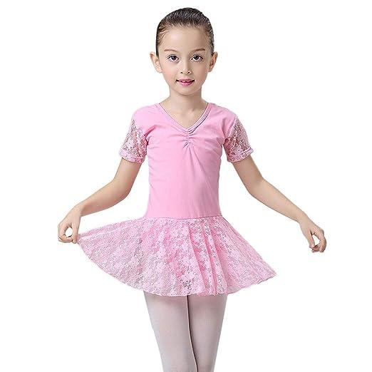 ccf958794f9a Amazon.com  Children Kids Girl 3-12 Years Gymastics Lace Leotard ...