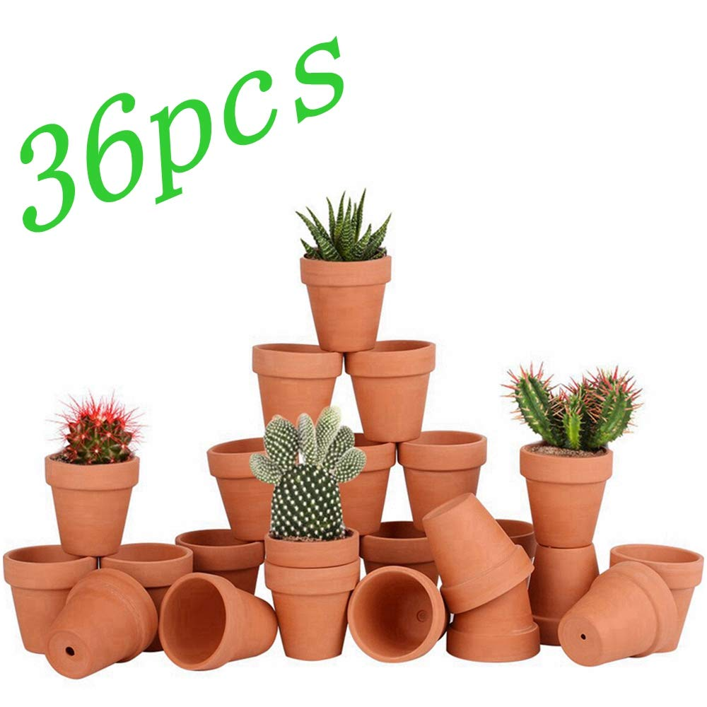 Bright starl 36pcs Small Mini Clay Pots, 2.5inch Terra Cotta Pot Clay Ceramic Pottery Planter, Succulent Nursery Pot Cactus Plant Pot, with Drainage Hole, for Indoor Outdoor Plants, Crafts, Wedding