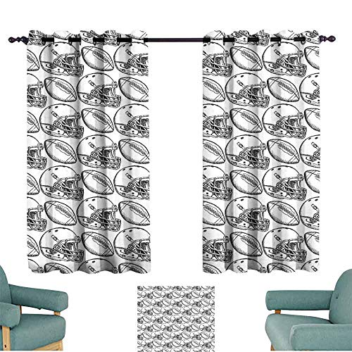 Mannwarehouse Football Thermal Curtains American Football Symbols in Symmetrical Order Championship Match Competition Noise Reducing 63