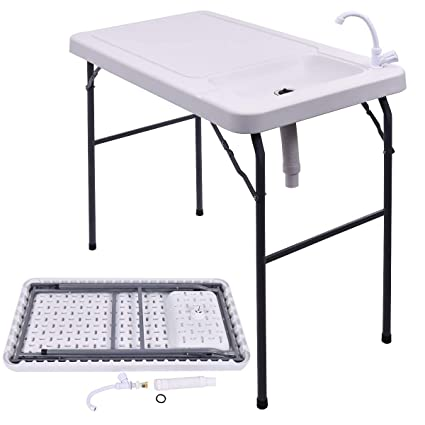 Gymax Fish Table Portable Folding Fish Table Fish Fillet Cleaning Cutting Table With Sink Faucet For Outdoor Camping Picnic Party