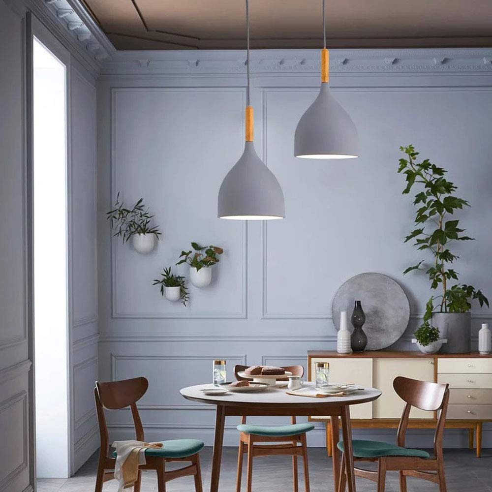 STGLIGHTING H-Type Track Macarons Pendant Light with 3.2 ft Cord Grey Al Shade Nordic Style Lighting Industrial Factory Pendant Lamp Bulbs Not Included GDTB0999