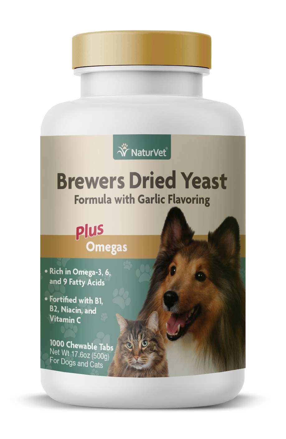 NaturVet - Brewer's Dried Yeast Formula with Garlic Flavoring - Plus Omegas - Rich in Omega-3, 6 & 9 Fatty Acids - Fortified with B1, B2, Niacin & Vitamin C - for Dogs & Cats - 1000 Chewable Tablets by NaturVet